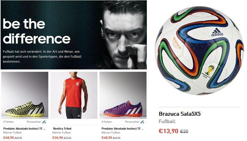 adidas mit 25% Sale auf Fußball Artikel oder 50% im Outlet Sale + 15% Gutschein   Update