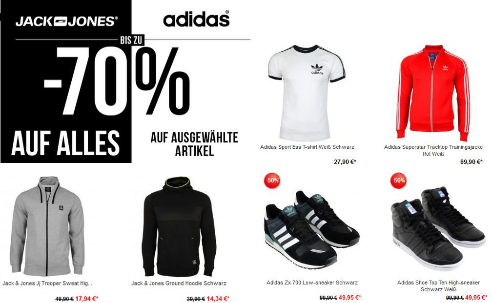Adidas Jack und Jones Jack & Jones mit 70% Rabatt auf alle Artikel und adidas mit 50% Rabatt auf ausgewählte Artikel