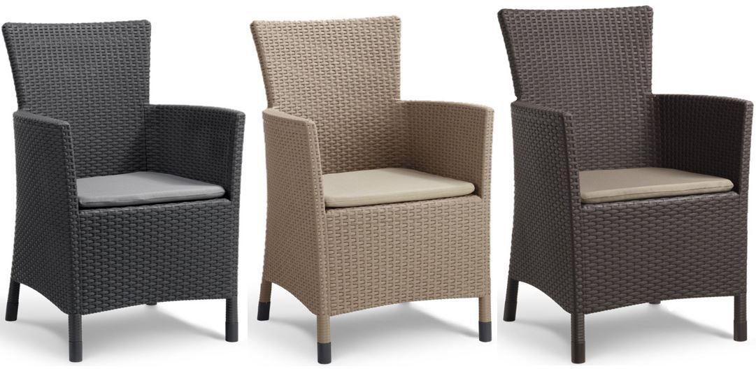 Allibert Iowa - Garten Dining Sessel mit Kissen in drei Farben für ...