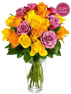 Blütenmeer aus 20 bunten Rosen für 19,80€