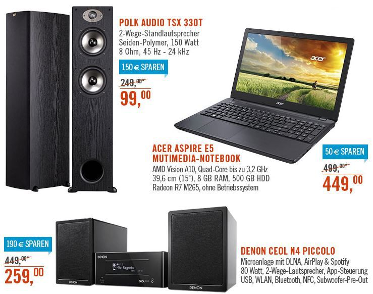 Polk Audio TSx 330T   2 Standlautsprecher statt 344 für 198€ bei den Cyberport Weekend Deals