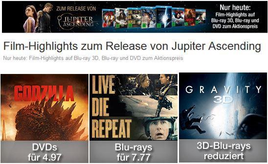 DVD Blu ray 3D   Blu rays reduziert   und andere Aktionen nur heute @ Amazon