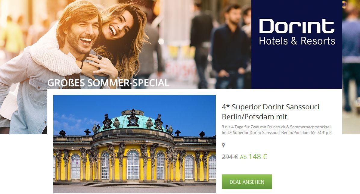 Hotelgutschein: 2Personen 2 Nächte im 4* Superior Dorint Sanssouci Berlin/Potsdam ab 133,20€ und mehr Dorint Gutscheine