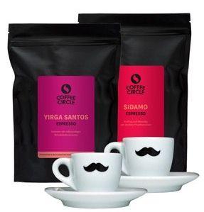 2kg Espresso (Sidamo und Yirga Santos) + 2 Tassen mit Schnurrbart für 49,79€