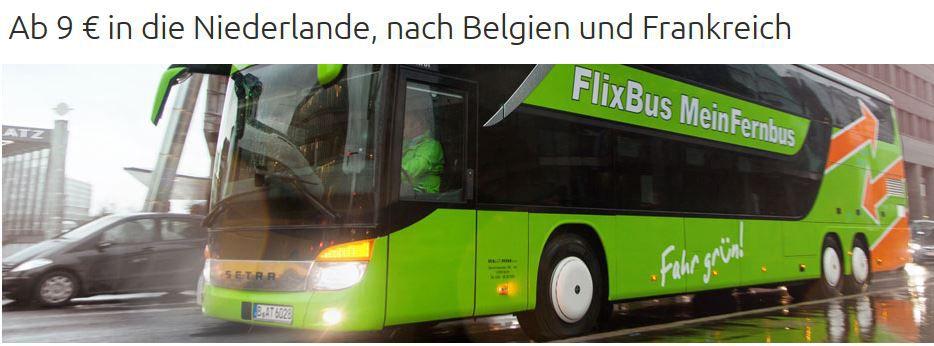 Flixbus mit 50.000 Tickets in die Niederlande, nach Belgien und Frankreich ab 9€   Update!