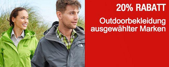 Galeria Outdoorkleidung 20% Rabatt auf Schuhe und ausgewählte Outdoorkleidung + 10% Gutschein bei Galeria Kaufhof