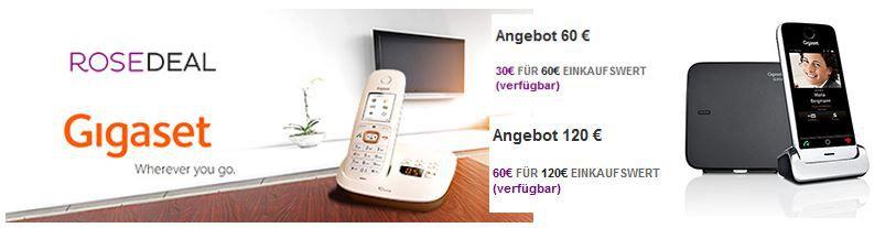 Gigaset Deal Gigaset Online Gutscheine: 60€ für nur 22€ oder 120€ für nur 52€   Update