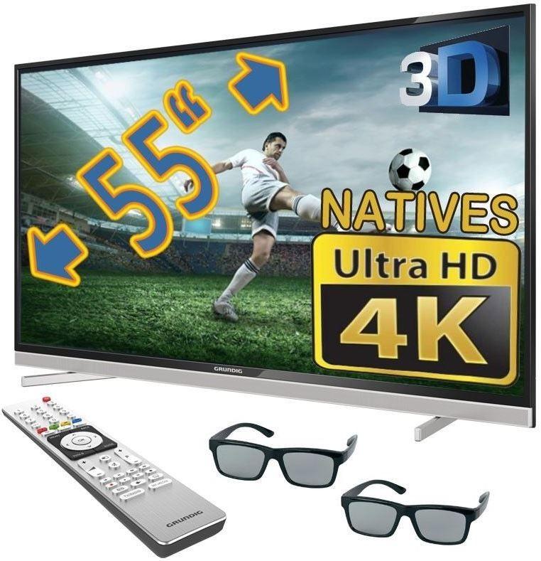 Grundig 55 VLX 8481   55 Zoll 3D UHD Smart TV mit PVR + zwei 3D Brillen für nur 649,99€   Update