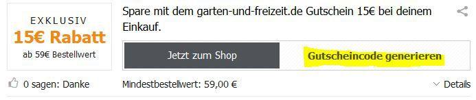 Garten und Freizeit.de   exklusiver 15€ Gutschein auf (fast) alles mit 59€ MBW