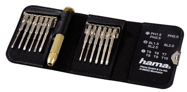 Hama Mini Schraubendreher Set 13 teilig mit Leder Etui ab 8,40€   Magnetisierbar, Torque, Schlitz, Kreuzschlitz