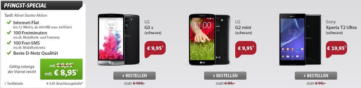 Vodafone Allnet Starter Aktion mit 100Min + 100SMS + 400MB Daten + Smartphone ab 8,95€/mtl.