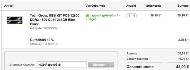 HoH Warenkorb TeamGroup Elite Black PC3 12800 DDR3 1600 CL11 8GB KIT Arbeitsspeicher für 42,90€
