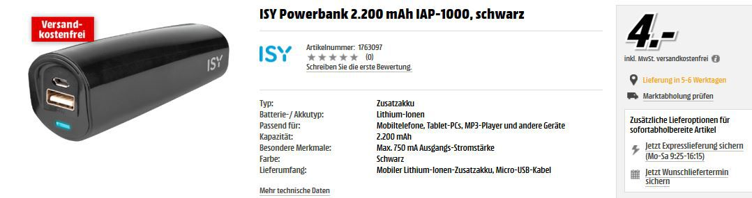 ISY Powerbank IAP 1000   2.200mAh für 4€ @MediaMarkt