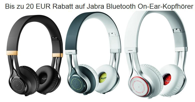Jabra Revo Wireless Bis zu 20€ Rabatt auf Jabra Bluetooth On Ear Kopfhörer   z.B. Jabra Revo grau für 90,06€   Update