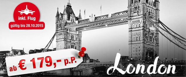 3 Tage London im 3 Sterne Hotel mit Frühstück + Hin  und Rückflug ab 179€ p.P.