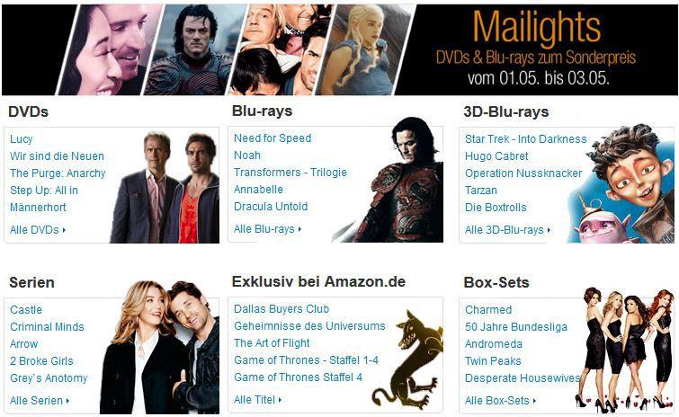Mailights günstige Box Sets und mehr bei der Mailights Amazon DVD und Blu ray Aktion