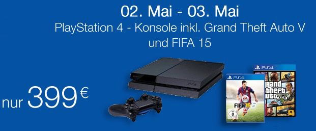 Playstation 4 + Fifa 15 + 2 Controller +3 Jahre Garanie ab 389,99€   Update