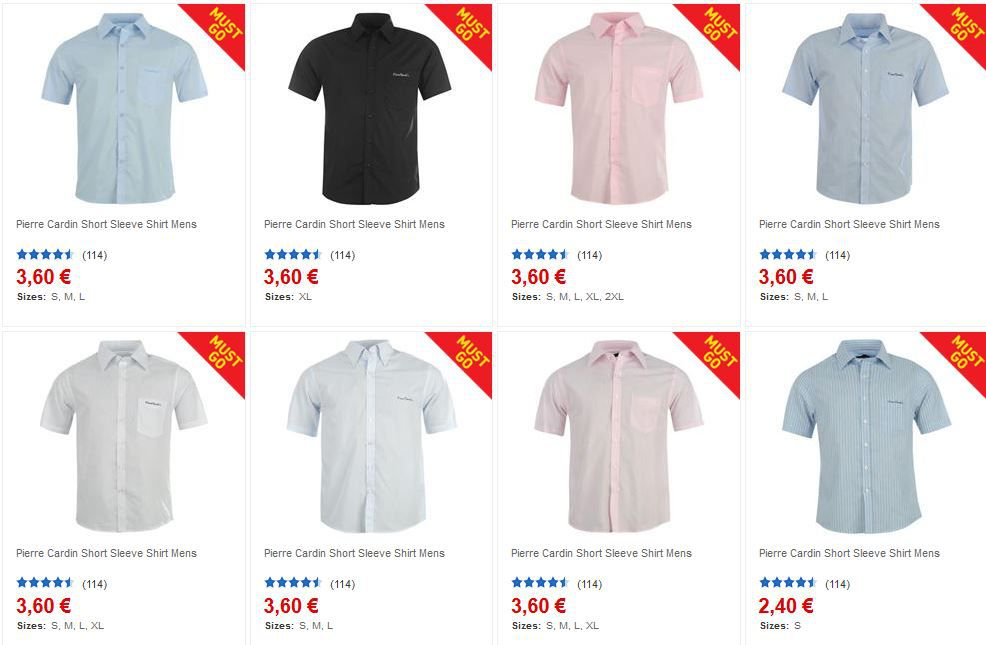 Pierre Cardin kurz und langarm Herren Hemden ab 3,60€ im 90% Rausverkauf bei Sportsdirect.com