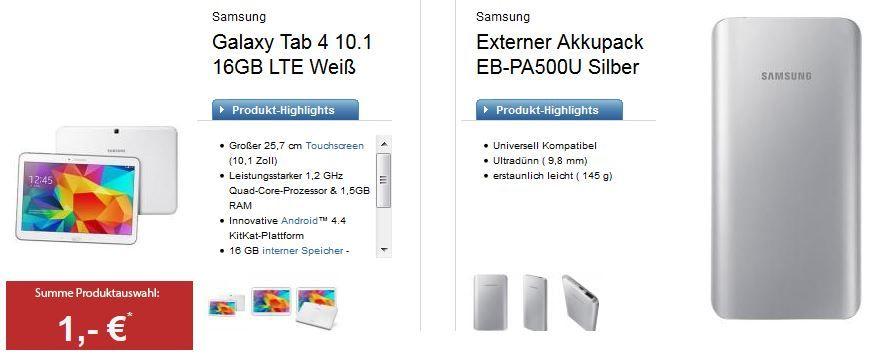 Samsung Galaxy Tab 4 10.1 LTE mit 16GB + BASE 500MB Datenflat +Akku für 265€ Gesamtkosten in 2 Jahren
