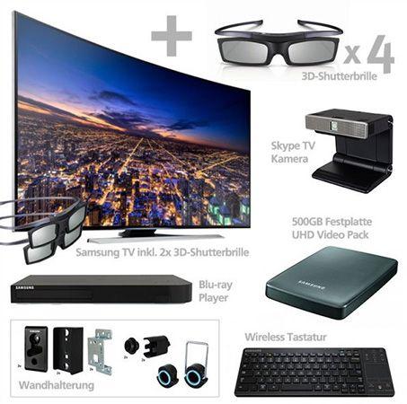 Samsung UE55HU8290   55 Zoll 3D UHD Curved Fernseher + Blu ray Player und reichlich Zubehör für 1.699€