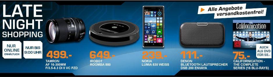 NOKIA Lumia 830 weiß für 239€ und mehr Saturn Late Night Shopping Angebote