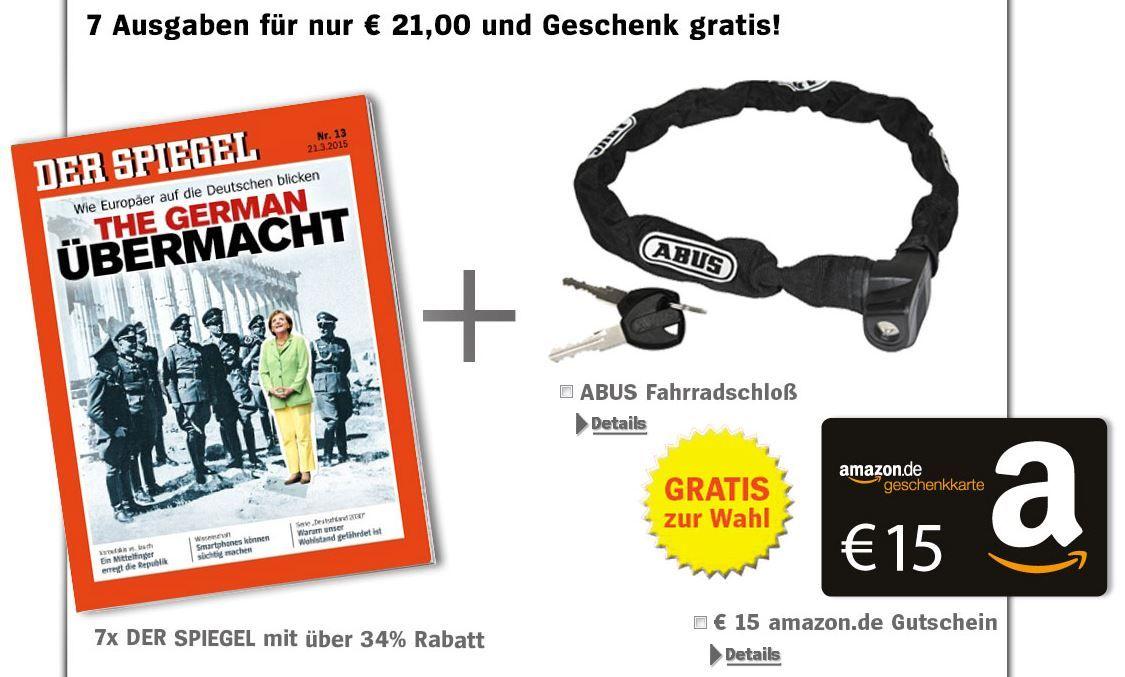 7 Ausgaben Der Spiegel für 21€ + 15€ Gutschein
