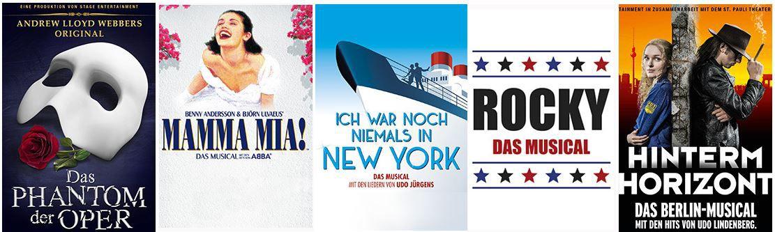 Stage Musicals Tickets in Berlin, Hamburg, Stuttgart und Oberhausen inkl. Hotel Übernachtung ab 99€