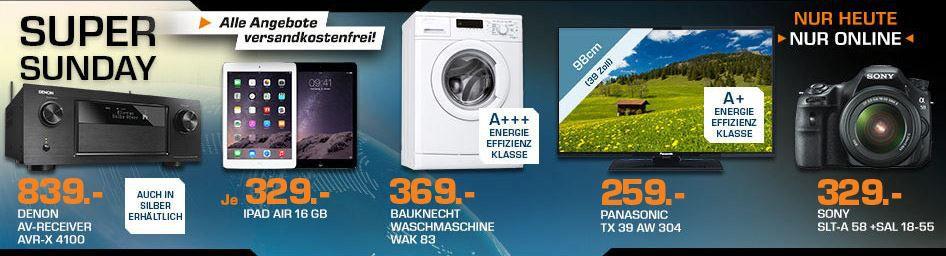 Super Sunday Angebote APPLE iPad Air 16 GB WIFI ab 324€ und mehr Saturn Super Sunday Angebote
