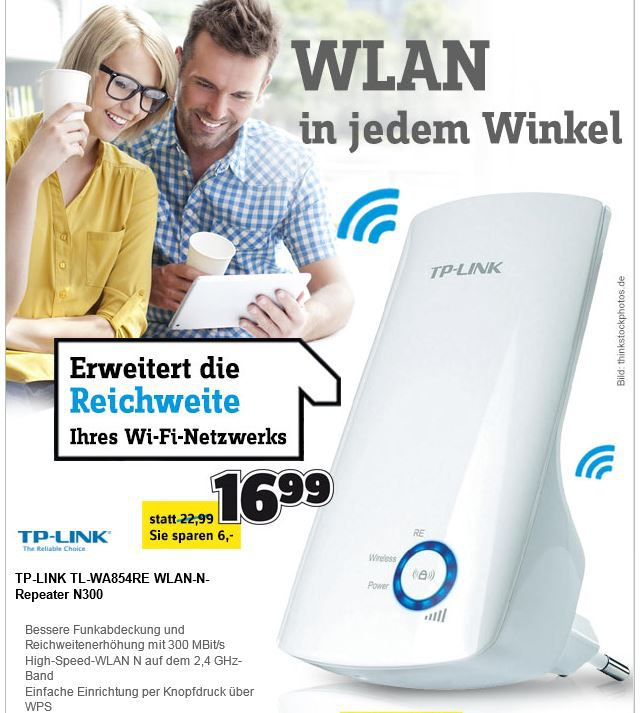 TP Link TP Link TL WA854RE WLAN Repeater mit 300 Mbps für 16,99€   Update!