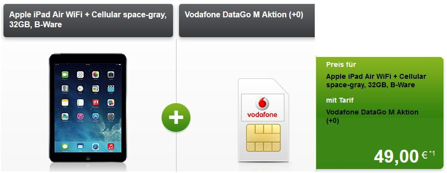 Apple iPad Air WiFi 4G 32GB B Ware für 49€ inkl. Vodafone DataGo M 3GB LTE für 17,49€/mtl.