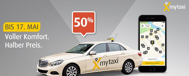 mytaxi Rabatt 50% Rabatt auf alle Taxifahrten über die mytaxi App