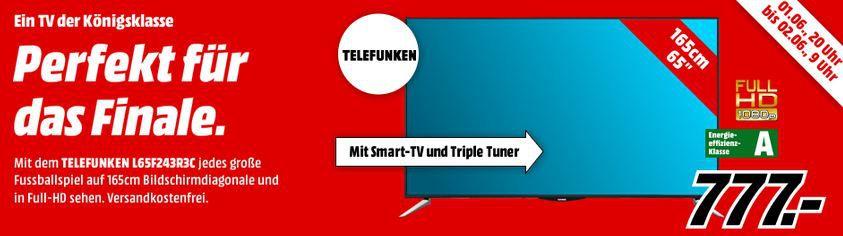 TELEFUNKEN L65F243R3C   65 Zoll Smart TV mit triple Tuner für 699€