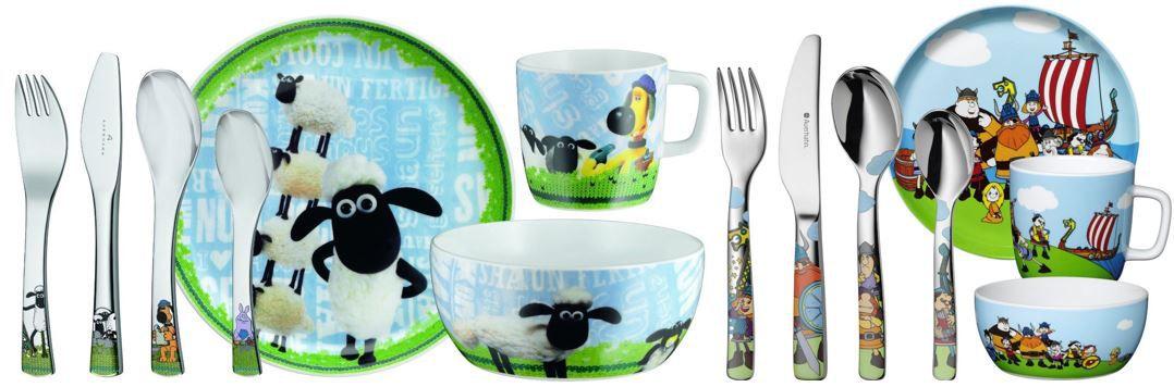 AUERHAHN Kinderset AUERHAHN 7 teiliges Kinder Ess und Besteckset mit Shaun das Schaf oder Wickie für 19,95€