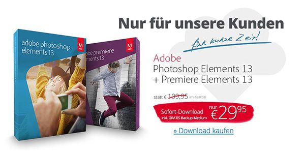 Adobe Photoshop Elements 13 + Premiere Elements 13 für 29,95€