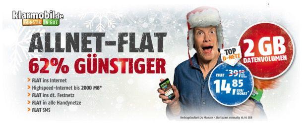 klarmobil Allnet Spar Flat + SMS Flat + 2GB Daten für nur 14,85€/mtl.