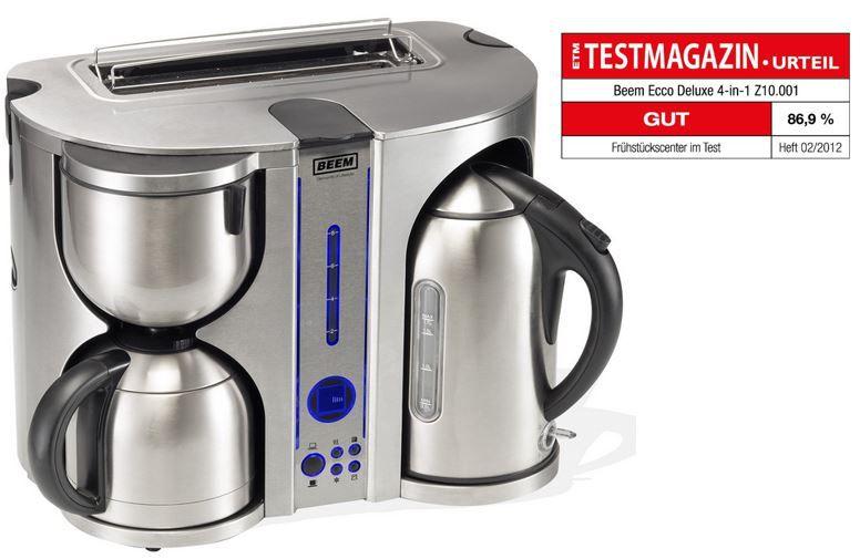 BEEM   Ecco de Luxe 4 in 1 Edelstahl Frühstücks Center: Kaffeemaschine, Wasserkocher und Toaster für 118€