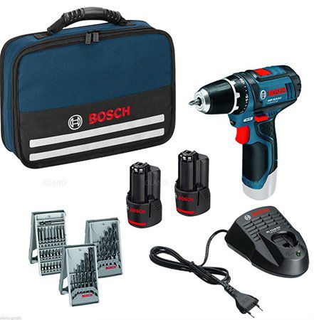Bosch GSR 10,8 2 Li Akkuschrauber mit Zubehör + 2,0 Ah + 4,0 Ah Akku + Tasche für 99,99€