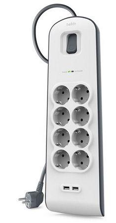 Belkin BSV804VF2M Surge Plus Steckdosenleiste für 29,90€   2 Meter Kabel, 8 fach, 2 USB
