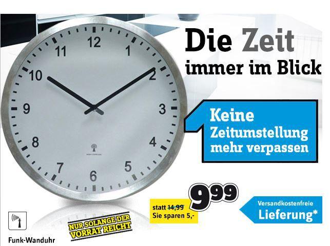 Conrad Uhr Edelstahl Funk Wanduhr Echtglas (Ø) 28 cm für nur 9,99€