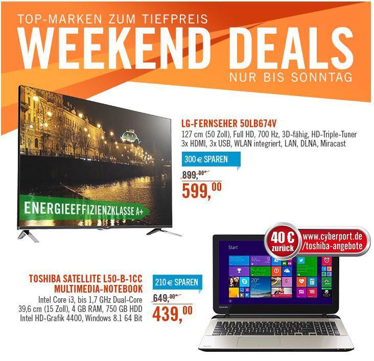 Toshiba Satellite 15 Notebook i3 mit 750GB Windows 8.1für effektiv 399€   bei den Cyberport Weekend Deals