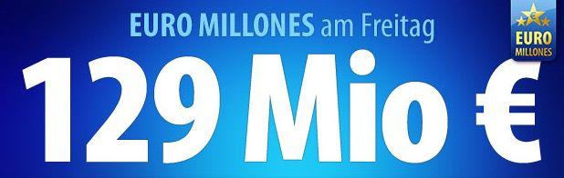 Euro Millions Tipp24: 3 EuroMillions Tippfelder für 1,50€   129 Mio. Jackpot, nur für Neukunden