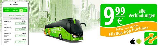 Flixbus 100.000 FlixBus Tickets für je 9,99€   alle Verbindungen, nur via App buchbar