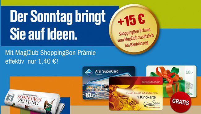 8 Wochen Frankfurter Allgemeine Sonntagszeitung für effektiv 1,40€ dank Gutscheinprämien