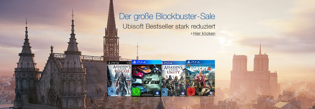 Assassins Creed, Far Cry 4,  Watch Dogs u.a. Konsolen und PC Games im Amazon Blockbuster Sale