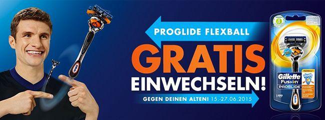 Gillette ProGlide Flexball Gillette ProGlide Flexball Rasierer bei Abgabe eines alten Gillette Rasierers kostenlos bekommen