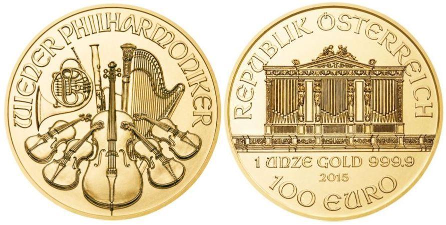 Goldmünze Wiener Philharmoniker   2x 1 Unze + 1x 1/25 Unze = 63,45 Gramm Feingold für 2.130€