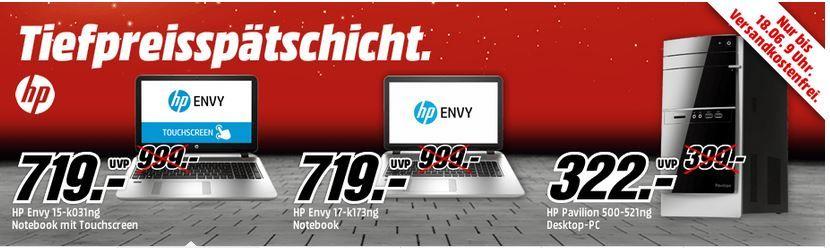 HP Envy 15 k031ng   15 Zoll Notebook Core i7 4510U, 12GB RAM, 1TB HDD, GeForce GTX 850M für 719€ bei der MediaMarkt HP Tiefpreisspätschicht