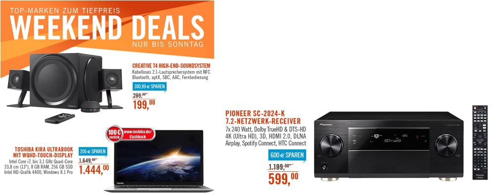 HiFi Angebote Pioneer SC 2024 K   7.2 Receiver statt 746€ für 599€   bei den Cyberport Weekend Deals