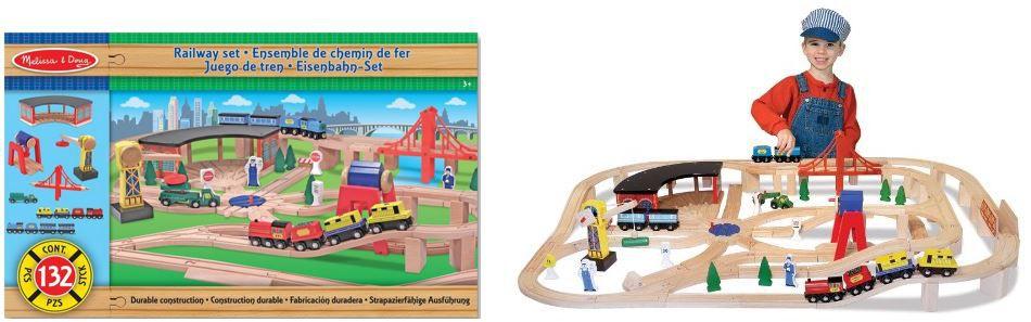 Melissa & Doug 10701   130 teiliges Holzeisenbahn Set für 49,19€