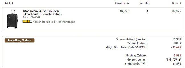 Kofferprofi mit Sale bis zu 60% Rabatt   Gutscheine von 10 bis 40€ auf fast alles!